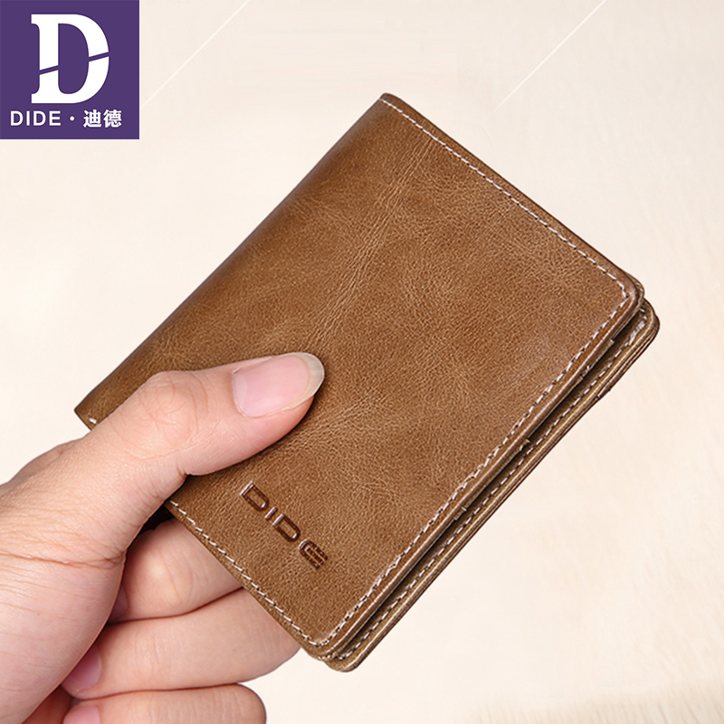 DIDE Top genuine leather wallets for men Khaki black purse Vintage Mini Small Wallet Male Card Holder Zipper Coin Purse DQ730
