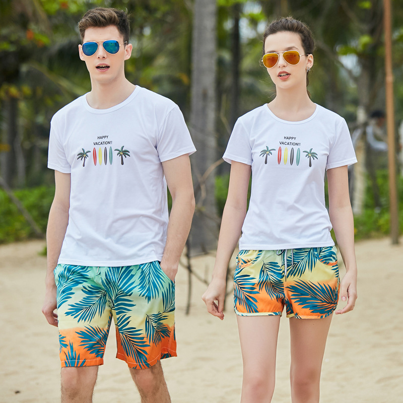 Men Shorts Slim Summer Chiffon Printing Beach Shorts Quick Drying Elastic Waist Board Shorts Men  GX19