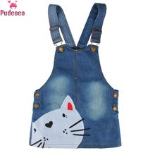 цена на Summer Embroidery Cartoon Cat Pattern Baby Girl Denim Dress Clothes Straps Kids Girls Sleeveless Suspenders Dresses