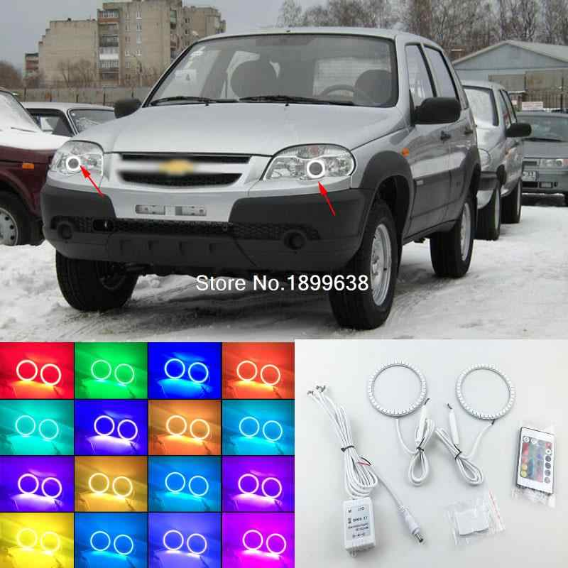 Super bright 7 color RGB LED Angel Eyes Kit with a remote control car styling For Chevrolet chevy Niva 2009 - 2013