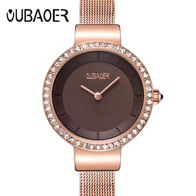 Women Watch OUBAOER Brand Luxury Fashion Casual Unique Lady Wristwatches Mesh Band Quartz Watch Relogio Feminino Montre Femme