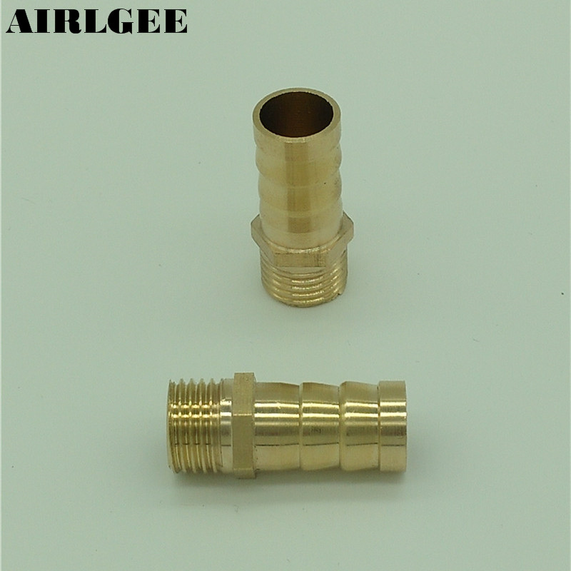 1/4 PT Thread To 12mm Air Pneumatic Connector Hose Barb Fitting Brass Coupling 2pcs 2 pcs cross 10mm 25 64 pipe pneumatic air barb hose nippler connector fitting