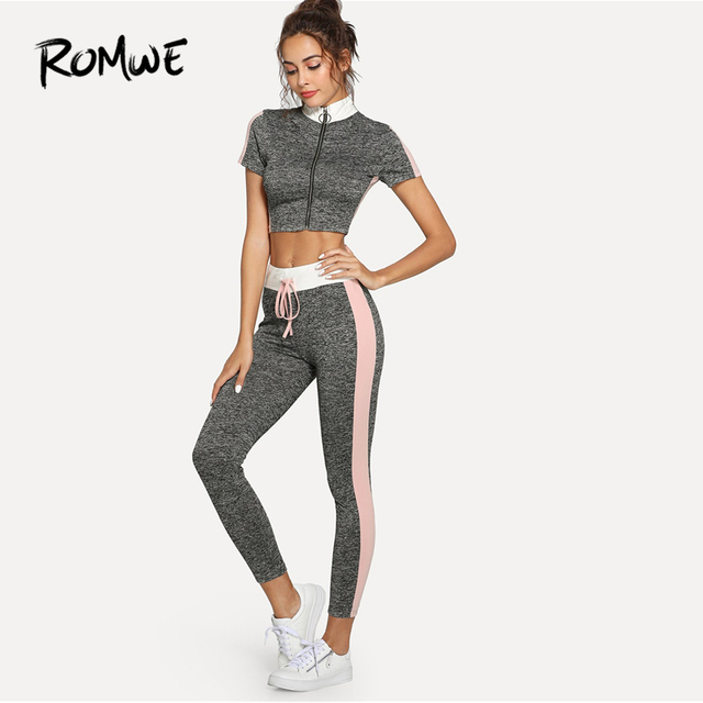 b96f8b2ba44 Romwe Sport Grey Colorblock Short Sleeve Zipper Crop Tee With Drawstring  Waist Tights Women Running Sets 2018 Gym Sports Suits