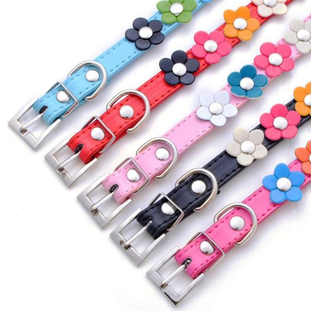 1 PC Pet Collars PU Leather Sweet Flower Studded Puppy Pet Collar Leather Buckle Neck Strap Collar PU Chokers Wholesale
