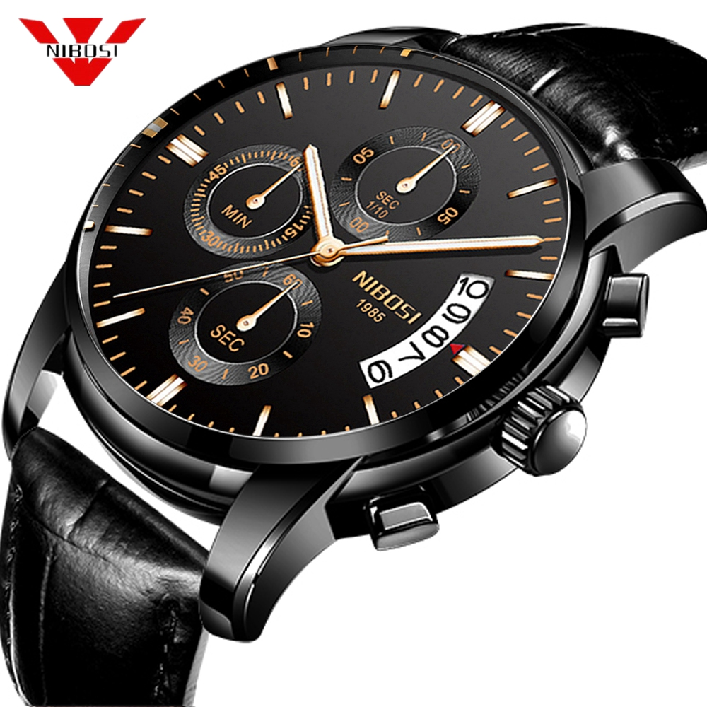 NIBOSI Mens Watches Top Brand Luxury Waterproof Watch Military Leather Strap Sport Watch Men Quartz Wristwatch Relogio Masculino