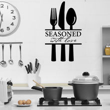 Bon Appetit Quote Wall Decal Wall Sticker Seasoned With Love Kitchen Room  Wall Sticker Dining Room Decal DIY Decoration YO 178