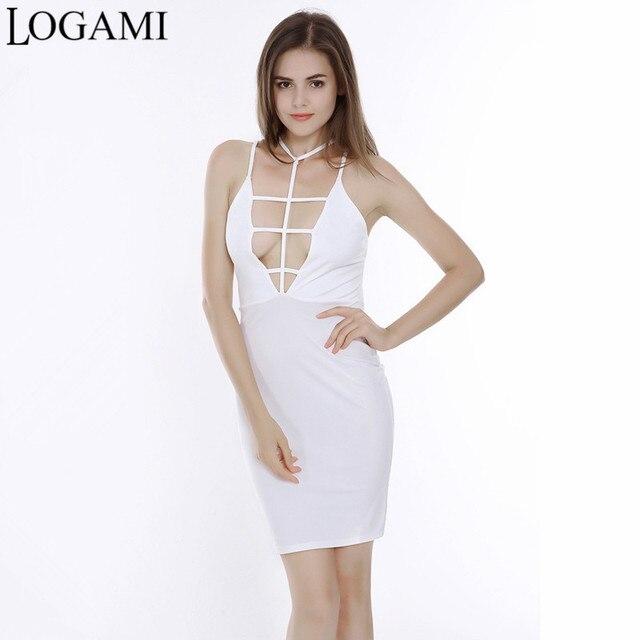 e449f715955 LOGAMI Deep V Neck Womens Sexy Dresses Party Night Club Dress Spaghetti  Strap Summer Mini Bodycon Dress White Black Robe Femme