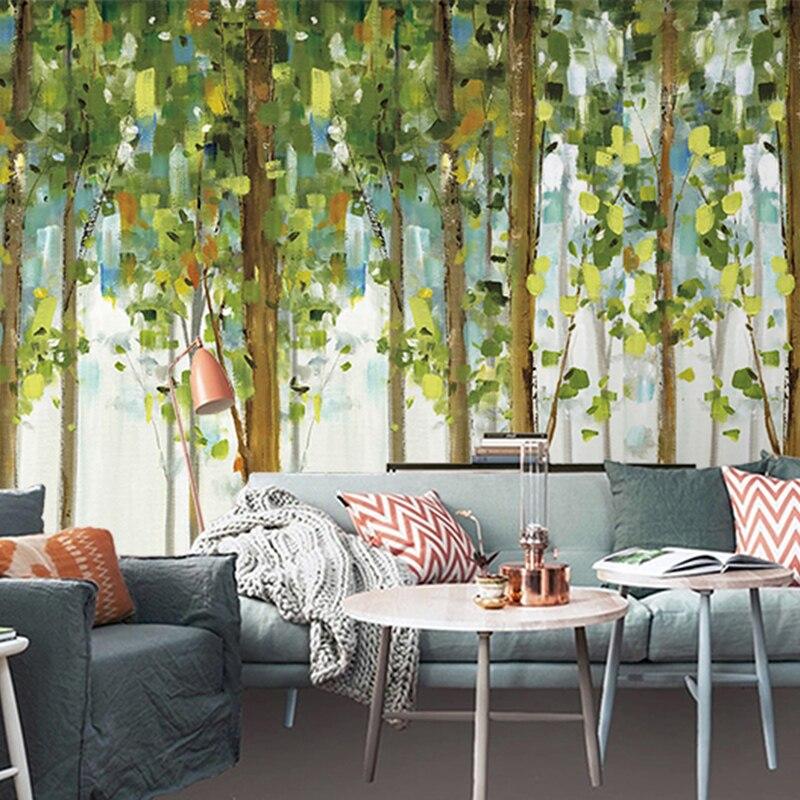 Free Shipping green trees mural living room bedroom TV backdrop wallpaper European wall painting wallpaper mural