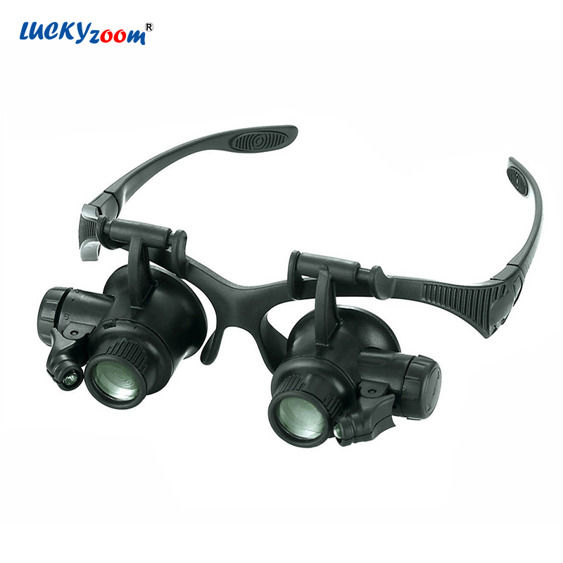 Luckyzoom Headband 10X 15X 20X 25X Glasses Magnifier Magnifying Glass With LED Lights Illuminated Magnifier Loupe Watch Repair new design binocular glasses type 20x watch repair magnifier with led light drop shipping shipping