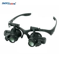 Aletler'ten Büyüteçler'de Luckyzoom kafa bandı 10X 15X 20X 25X gözlük büyüteç büyüteç ile LED ışıkları işıklı büyüteç büyüteç İzle onarım