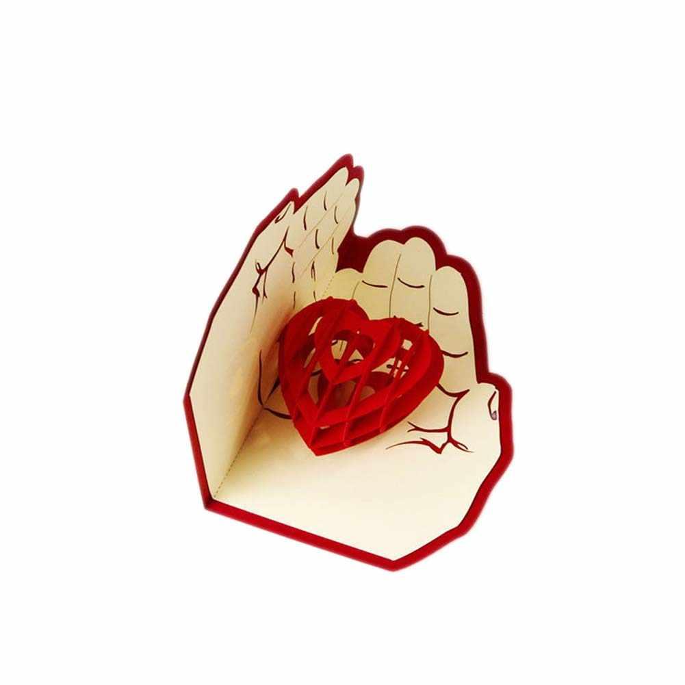 3D Up tarjetas de felicitación plegables creativo hecho a mano amor en la mano tarjetas de boda San Valentín cumpleaños regalo del Día de la madre