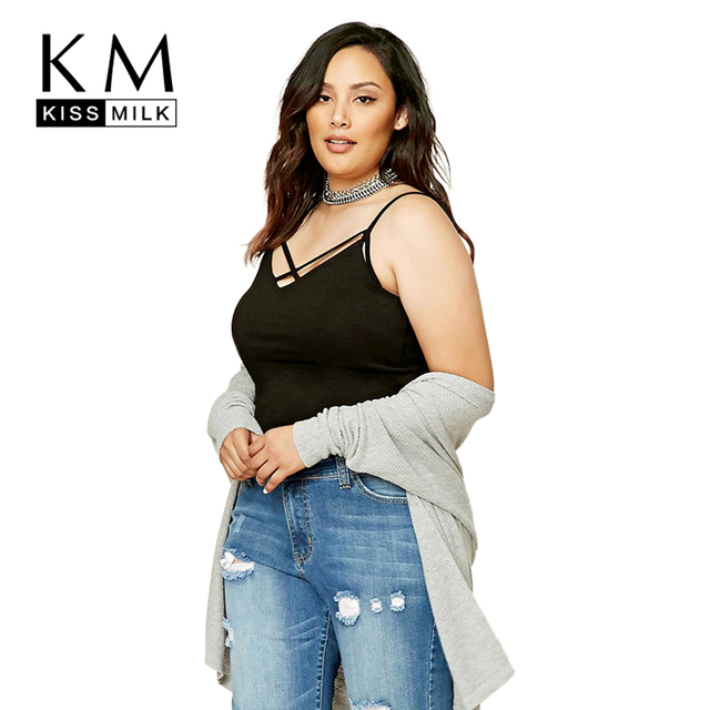 Kissmilk Plus Size New Fashion Women Clothing Basic Sexy Solid Cold  Shoulder Tanks Half Camisole Big 76299b845dfd