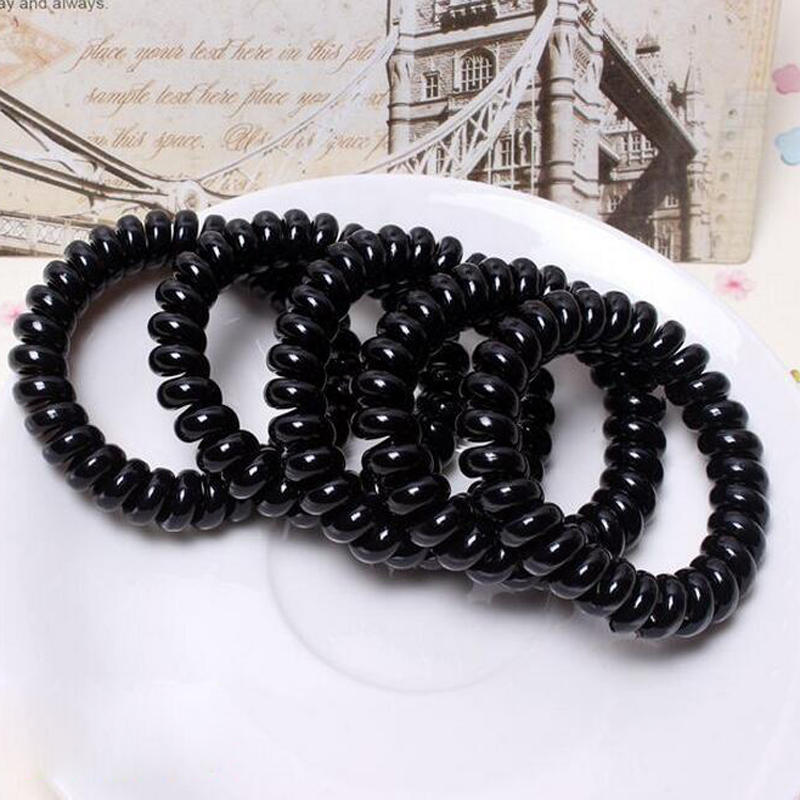 4pc Black Elastic Hair Rubber Band Popular Telephone Wire Hairband For Lady Hair Band Rope Black Bracelet Girls Hair Accessories