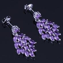 Cheerful Purple Cubic Zirconia 925 Sterling Silver Drop Dangle Earrings For Women V0695