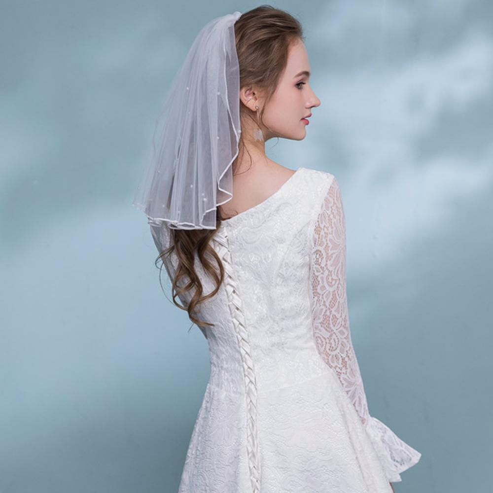 Fashion Wedding Veil Simple Tulle White Ivory Single Layers Bridal Veil Short Girls Veils Cheap Bride Accessories