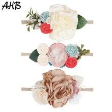 AHB Lovely Nylon Headband for Baby Girls Artificial Flowers Hair Bands Newborn Photography Props Elastic Head Headwear