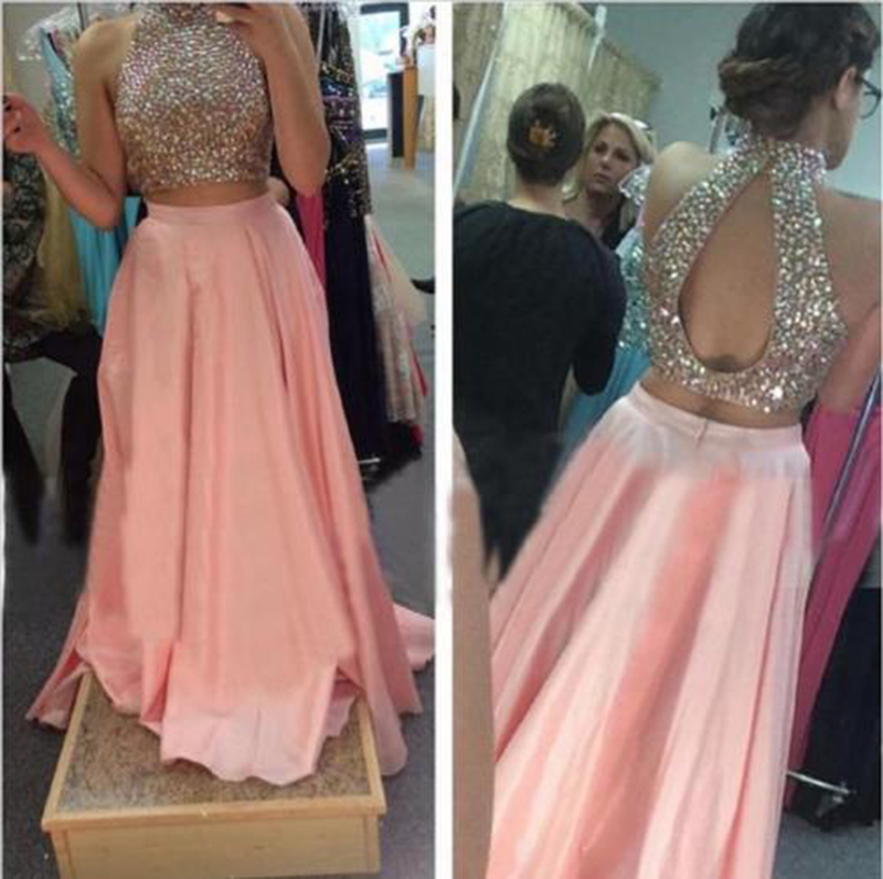 Backless Two Piece   Prom     Dress   2018 High Neck Stunning Beaded Crystal Floor Length African Blush Long Formal Evening Party   Dress
