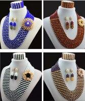 2016 weihnachten Schmuck Sets Mischen Farbe Nigerianischen Hochzeits Afrikanische Perlen Schmuck-Set New Braut Schmuck Neckalce Sets Kostenloser Versand