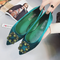 Green Rhinestone Flat Heel Shoes Women Spring Pointed Toe Square Buckle Satin Flats Shoes Wedding Shoes Loafers