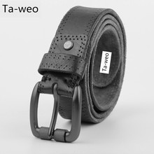 Men's Casual Leather Belts For Jeans 100% Genuine Cowhide Leather Belt