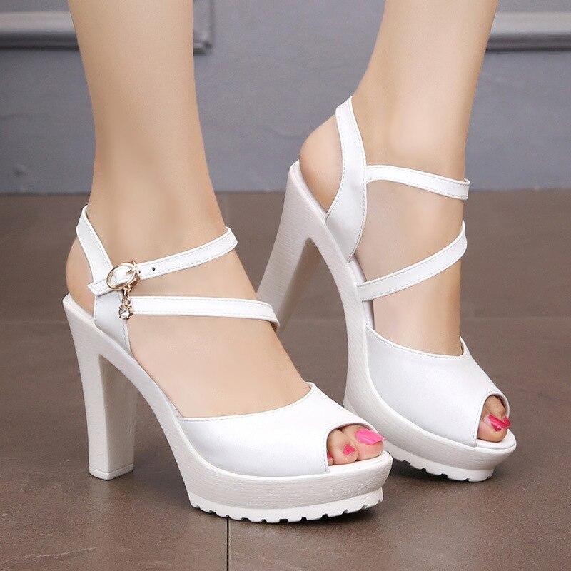 c34e7b80e2d Plus Size 33-43 Platform Sandals Women s Summer Shoes 2018 Block High Heels  Gladiator Sandals Women Black Silver White Sandal