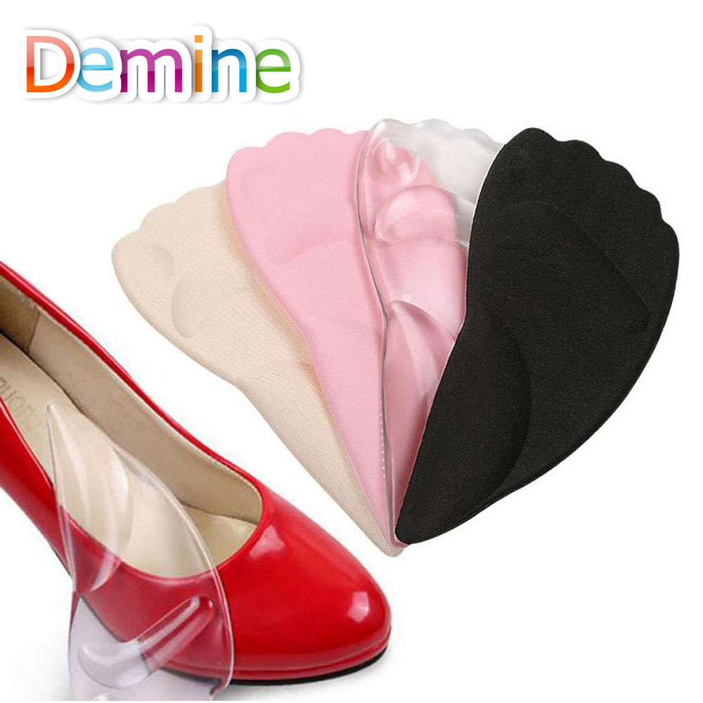 Demine Silicone Gel Forefoot Pads for Women High Heel Insert Pad Shock Absorption Shoes Cushion Insole Massage Shoe Soles Insole free shipping 500pars lot leather latex forefoot pad cowhide high heeled shoes cushions comfort shoe soles