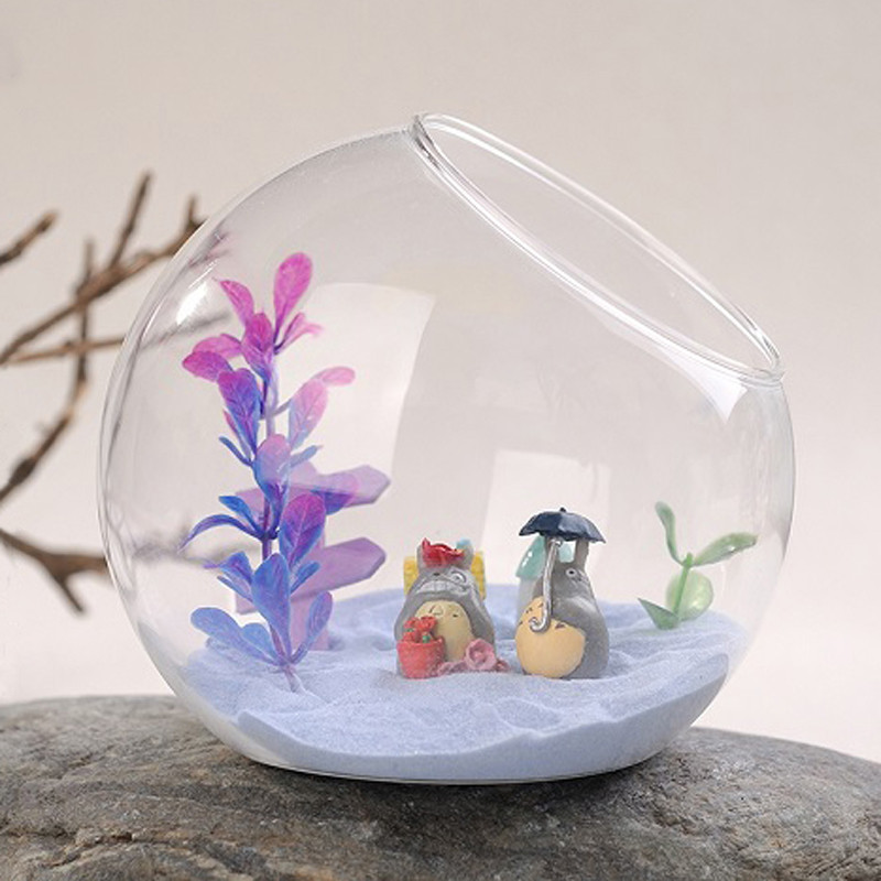 Free Shipping Diameter = 15cm 2pcs/pack Big Size Side Open Glass Ball Terrarium Vase Creative Table Stand Home Decorative
