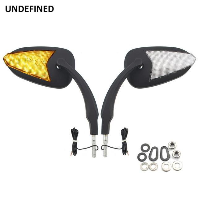 Black Motorcycle Mirror Amber LED Turn Signal Light Rearview Mirrors For Harley Sportster XL 883 1200 2014-2019 Retroviseur Moto