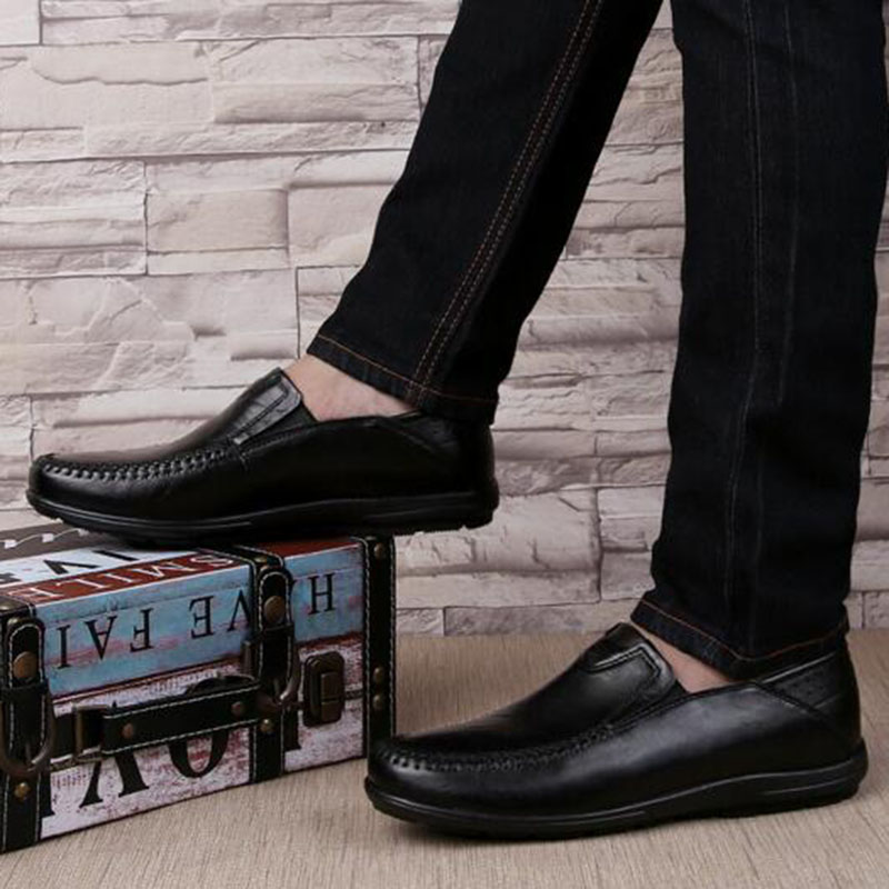 2018 Winter Hot Sale Men Keep Warm Casual Single Doug Shoes,Slip-on Genuine Leather Plush Breathable Non-slip Loafers Shoes