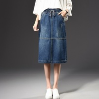 Cotton blend denim skirts for women plus size jeans A-line casual skirts mid-calf empire autumn spring new fashion tyn0709