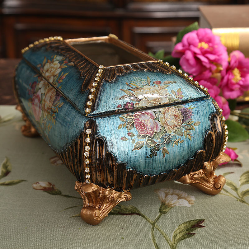 Paper towel box European luxury home decor carved resin living room dining room desktop American paper box in Artificial Dried Flowers from Home Garden