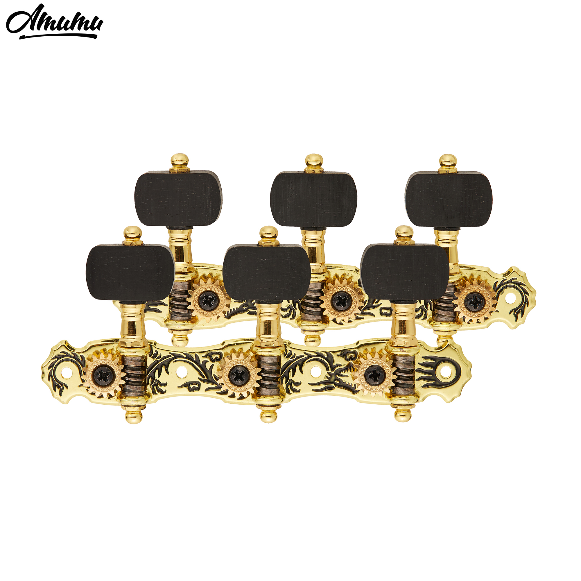 Gold Plated Black Dragon Guitar Machine Heads Classical Guitar Tuning Pegs Tuner Keys with Ebony Knob  3L and 3R sews alice aos 020b1p 2pcs left right classical guitar tuning key plated peg tuner machine head string tuner