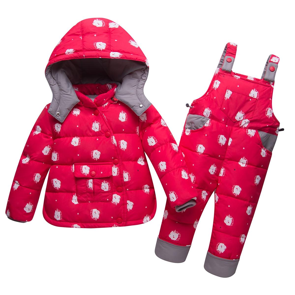 b8a35d8b4 Winter Baby Girls Ski Suit Unicorn Print White Duck Down Snowsuit ...