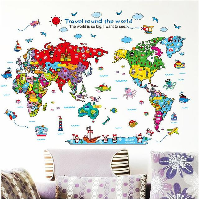 Cartoon world map vinyl wall stickers for kids rooms home decor art cartoon world map vinyl wall stickers for kids rooms home decor art decals poster wallpaper decoration gumiabroncs Images