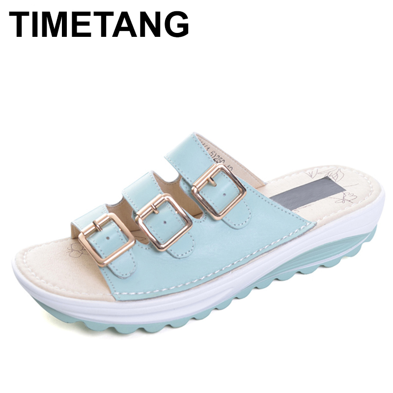 TIMETANG New Slippers Summer Split Leather Shoes Woman Buckle Platform Wedges Casual Style Creepers Slides C275 black women wedge slippers 12cm high heel platform pumps genuine leather shoes woman gladiator sandals slides wedges creepers
