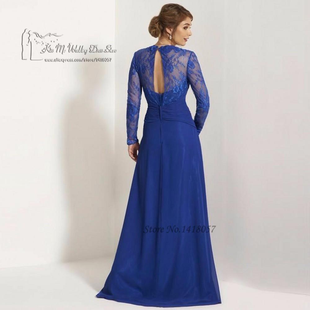9f374bce24 Plus Size Mother of the Bride Dresses Long Sleeve Lace Godmother Dress  Royal Blue Formal Evening Gown Women Vestido Mae da Noiva