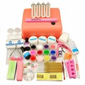 36w UV lamp UV Gel Nail Kit false French Tips Primer Topcoat Buffer Polish Sets glitter brush cleanser plus Nail Art tools kit