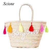 Hot Summer Straw Beach Handbags Purse Colorful Tassel Letter Women Shopping Tote Bohemian Style Weave Travel
