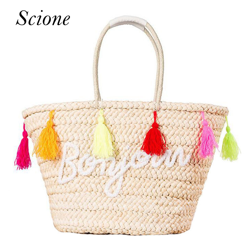 Hot Summer Straw Beach Handbags Purse Colorful Tassel Letter Women Shopping Tote Bohemian Style Weave Travel Shoulder Bag 131570  new 2017 womens straw summer style woven shoulder tote shopping beach bag purse handbag straw beach bags travel for vacation