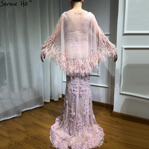 Image 2 - Pink Sleeveless Feathers Shawl Yarn Evening Dresses 2020 Mermaid Crystal Pearls Fashion Sexy Evening Gowns Serene Hill LA6608