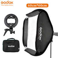 Godox портативный софтбокс 60x60 см комплект + s-образный кронштейн Bowens держатель для DSLR камеры Фотостудия вспышка софтбокс