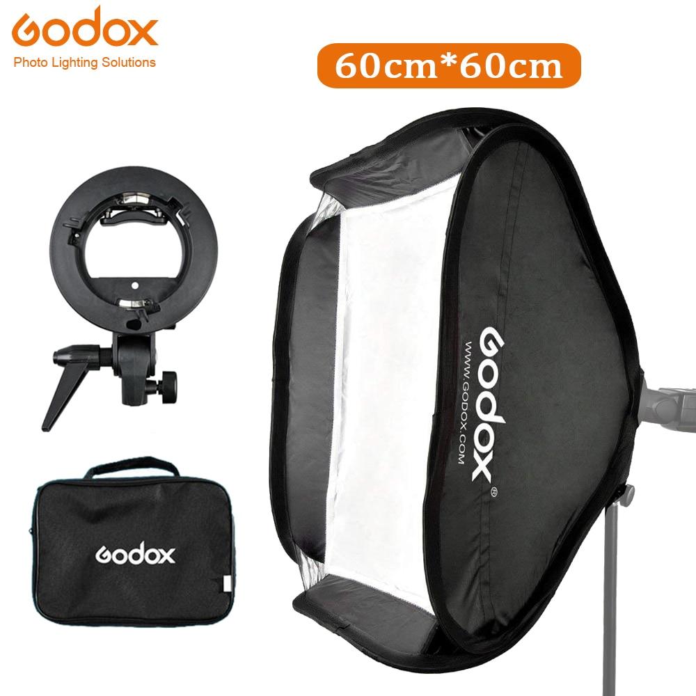 Godox Portable Softbox 60x60 cm Kit + support de type S Bowens support de montage pour appareil photo reflex numérique photographie Studio Flash boîte souple