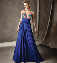 Mode Blaue Blumen Stickerei Chiffon-Eine Linie Abendkleider 2016 V mit V Zurück Lange Formale Kleid für Frauen Robe de Soiree