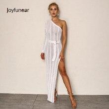 617e0bab152 Joyfunear удивительные трикотажные длинное платье для женщин одно плечо платье  макси пикантные Прозрачные Высокие разделение клубвечерние