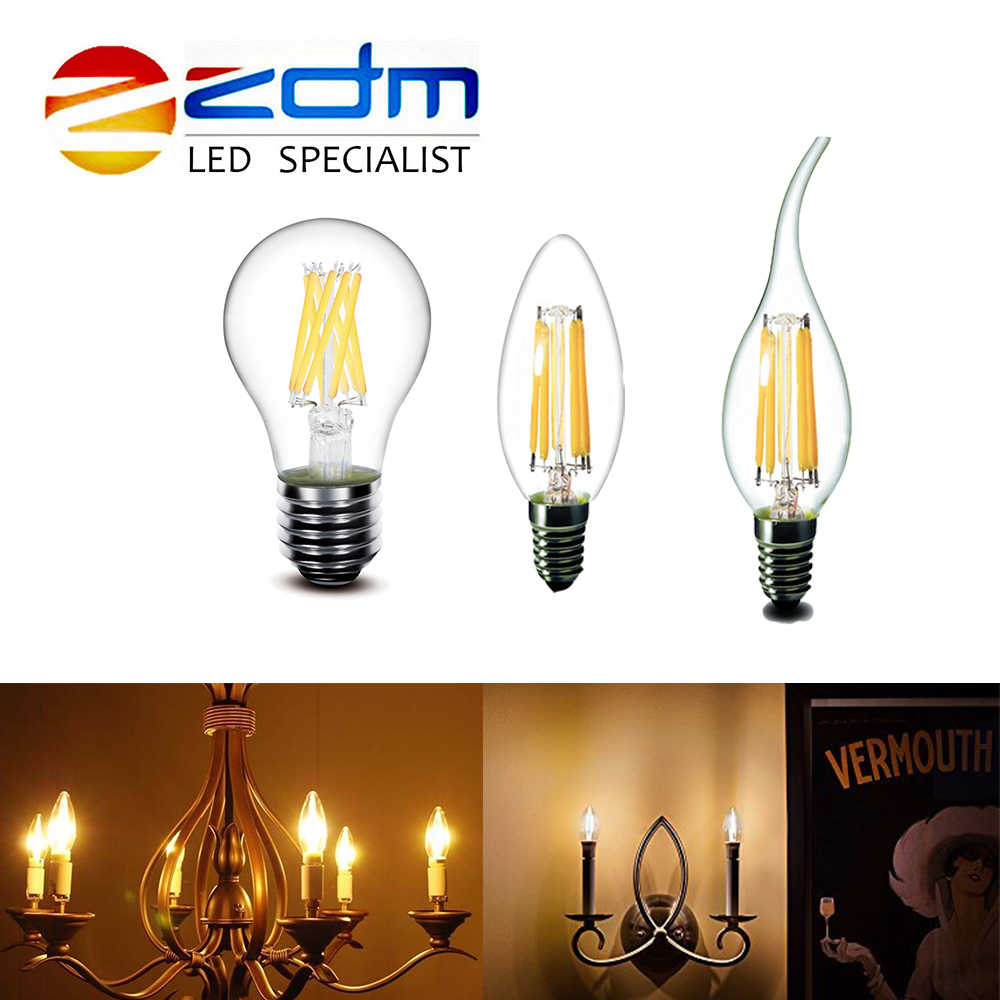 LED Filament Bulb E27 Retro Edison Lamp LED 220V E14 Vintage Candle Light Globe Chandelier Lighting COB Home Decor Energy Saving