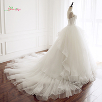Dream Angel Sexy Sweetheart Draped Ball Gown Wedding Dresses 2018 Backless Ruched Princess Bride Dress Robe