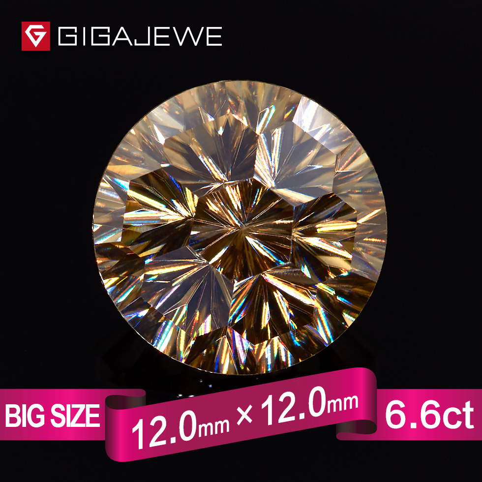 GIGAJEWE New Cut Yellow Color 7ct 12mm Wholesale Customized synthetic moissanite stone for making fashion jewelry