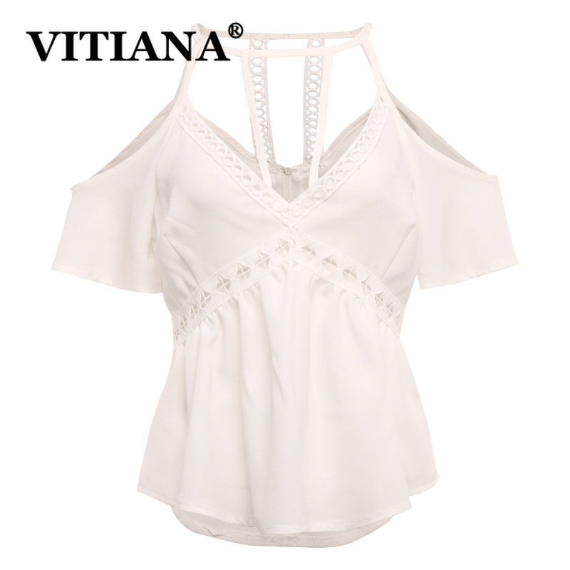 VITIANA Women Beach Sexy Camis Tops Summer 2019 Female Solid Black White Hollow Out Short Sleeve Backless Party Halter Shirts
