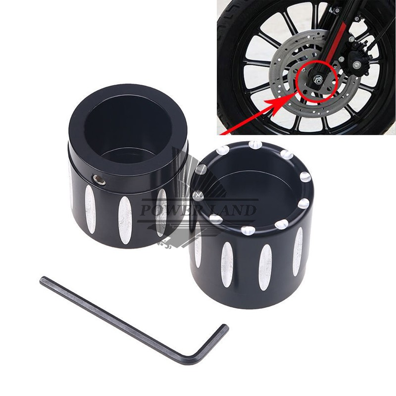 Black Deep Edge Cut Front Axle Cover Cap Nut For Harley Electra Street Glide USA