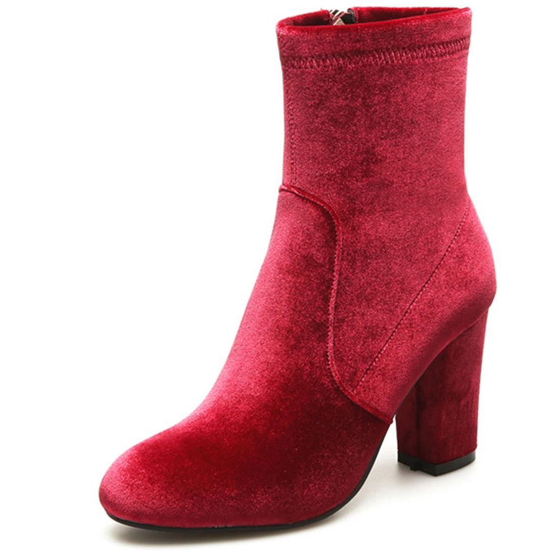 ФОТО High Top Velvet Autumn Chunky Suede Glace Sexy Winter Girls Boots Women Booties Pointy High Quality Warm Shoes